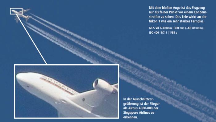 Bei Flugzeug-Aufnahmen macht sich die Brennweitenverlängerung durch den kleinen Sensor besonders bemerkbar