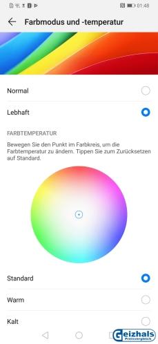 Vorbildlich: Optionen für die Farbwiedergabe des Displays